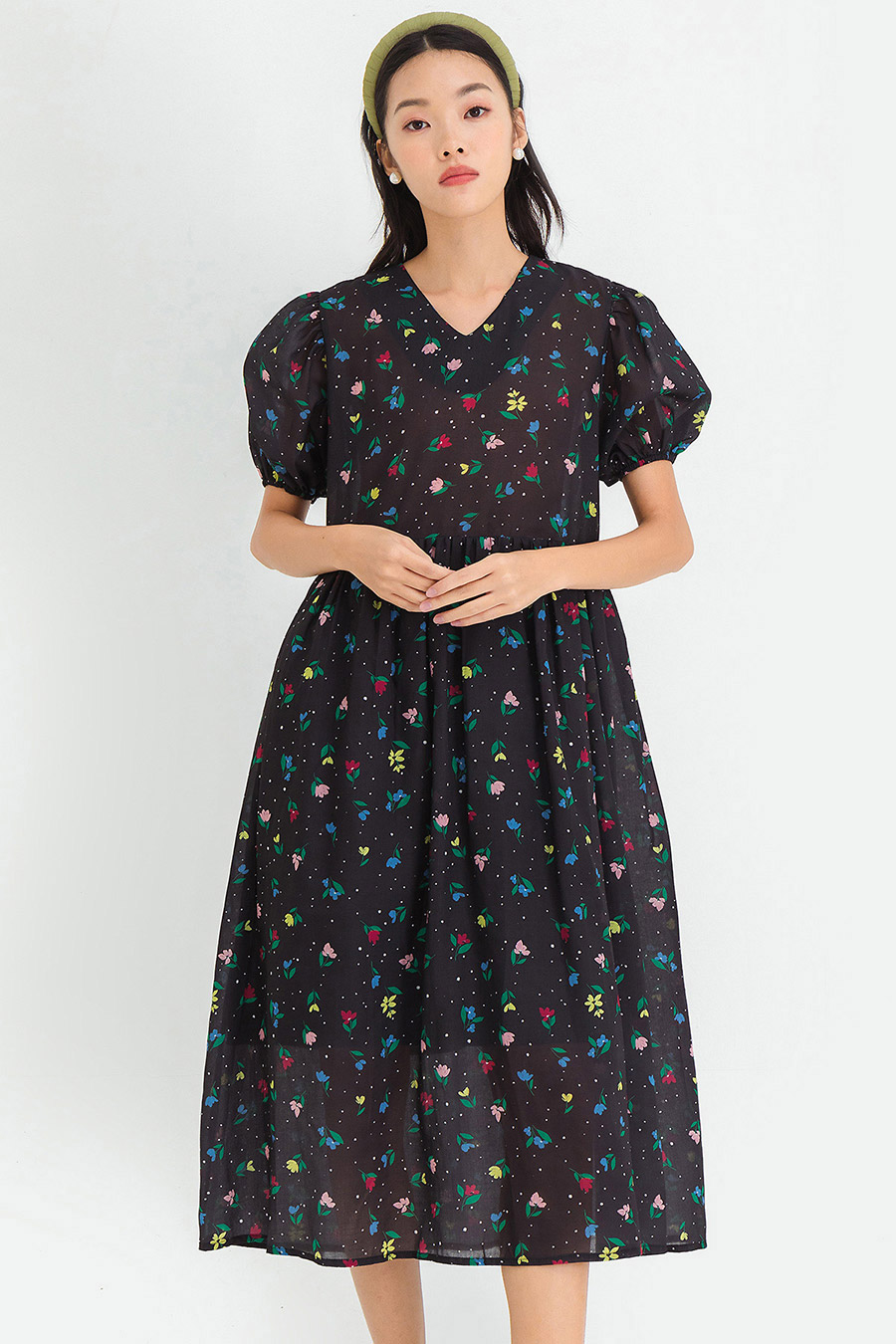 ALFIE DRESS - NOIR FLEUR