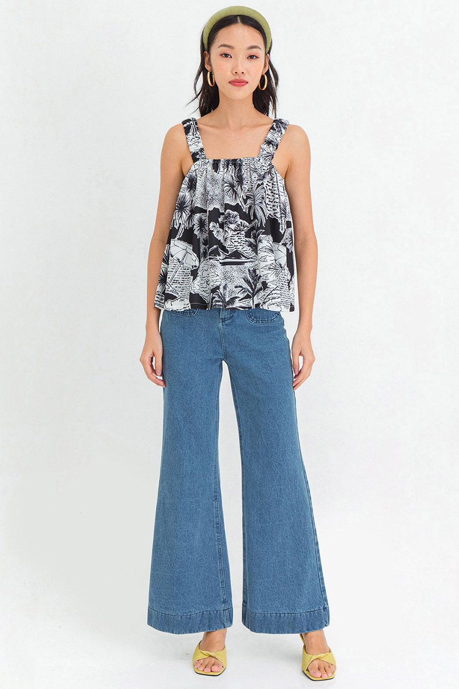COLETTE TOP - PALM SPRING NOIR [BY MODPARADE]