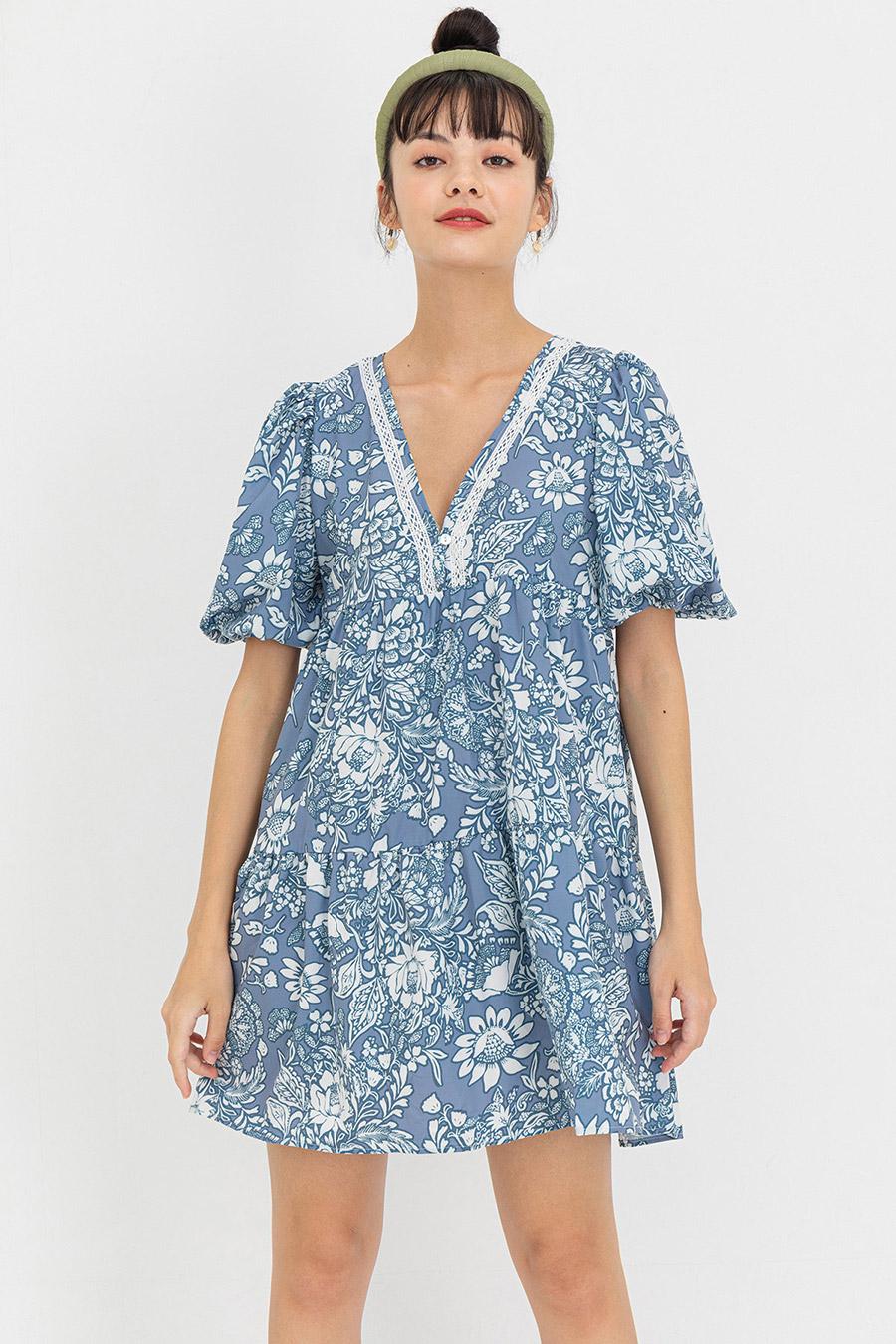 EMELINA DRESS - BLEU FLEUR