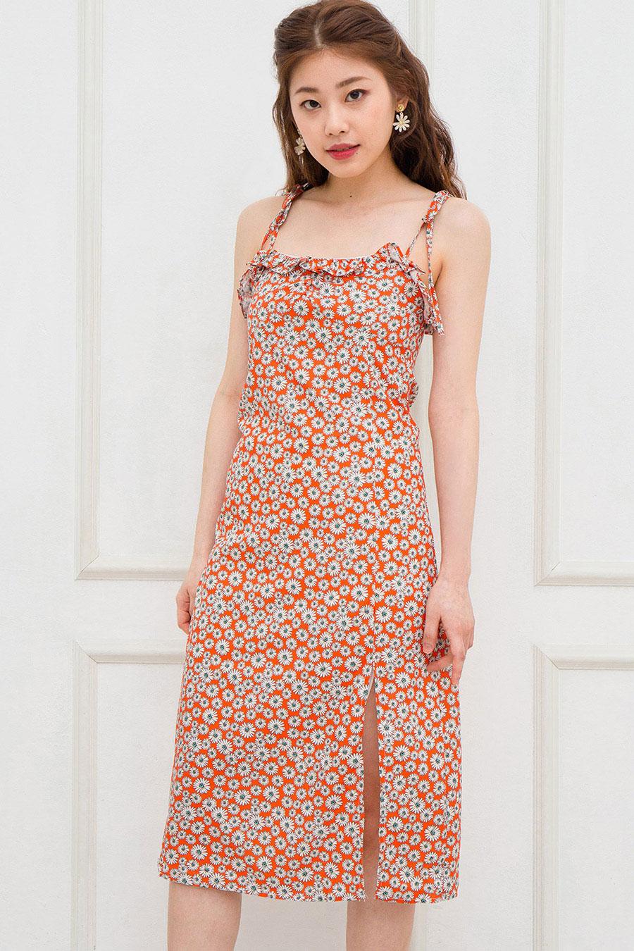 GRETA DRESS - TANGERINE FLEUR