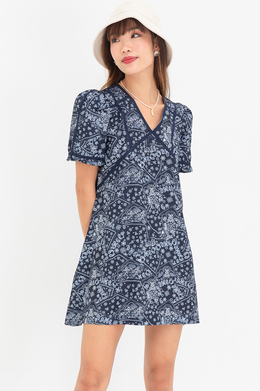 *BO* KEIR DRESS - NAVY PAISLEY