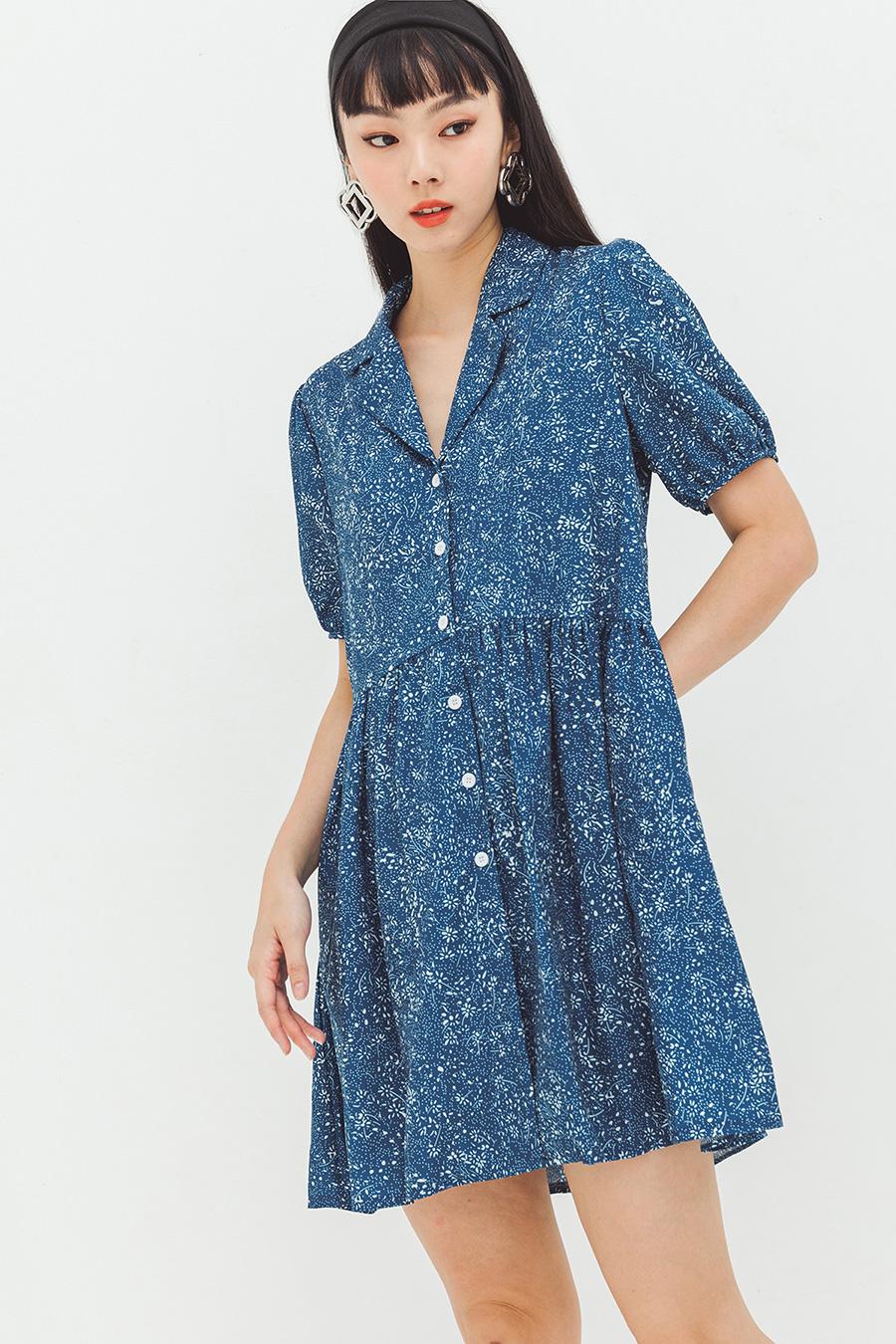 MAEVA DRESS - BLEU FLEUR