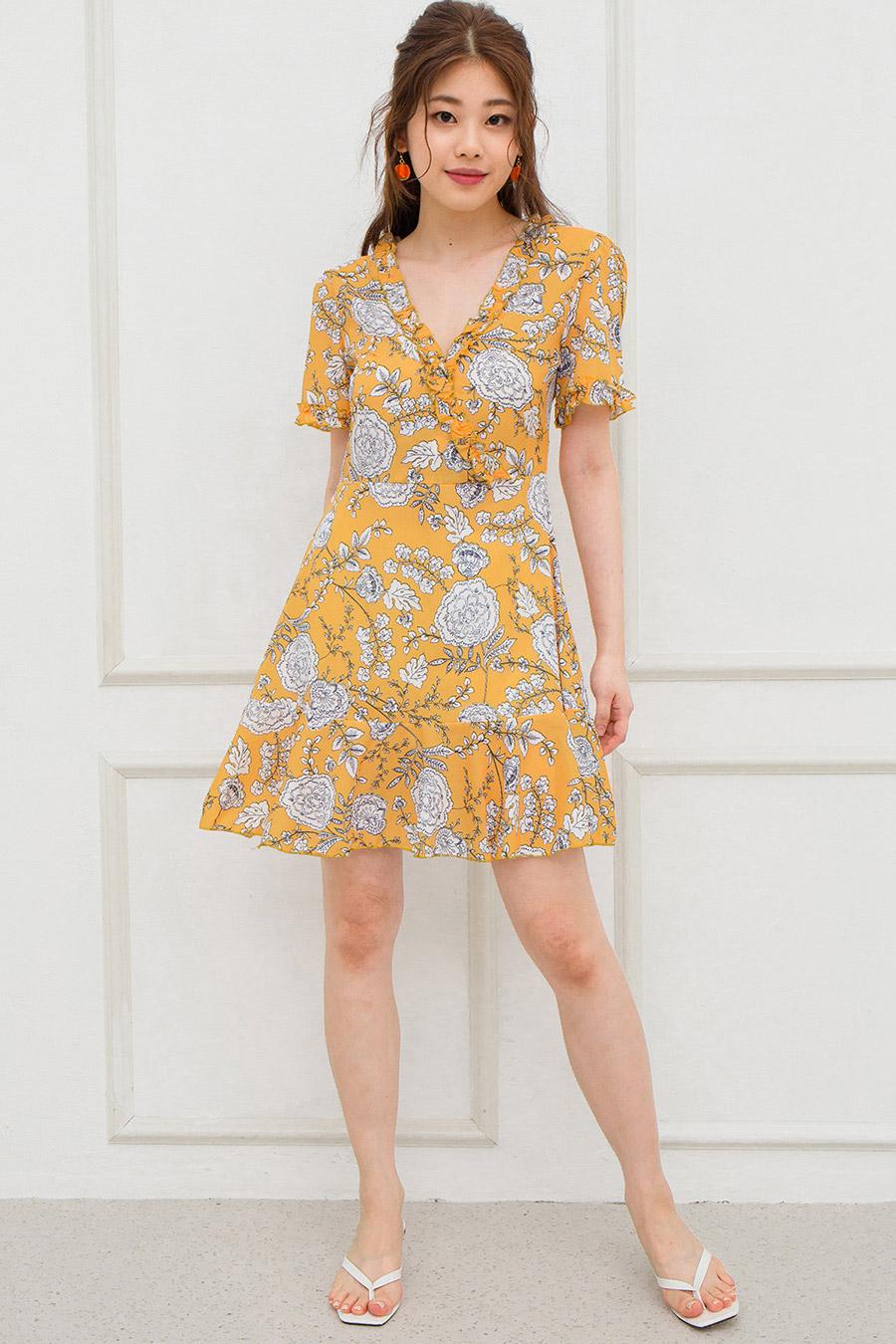 MOREAU DRESS - TANGERINE FLEUR