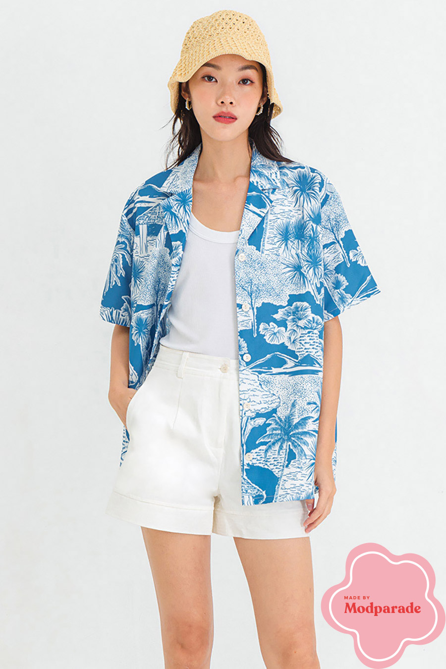 *RESTOCKED* OAKLEIGH TOP - PALM SPRING BLEU [BY MODPARADE]