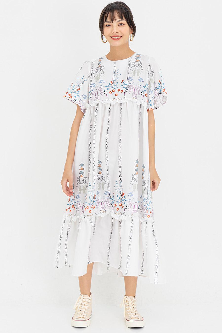 TIFFANIE DRESS - IVORY FLEUR