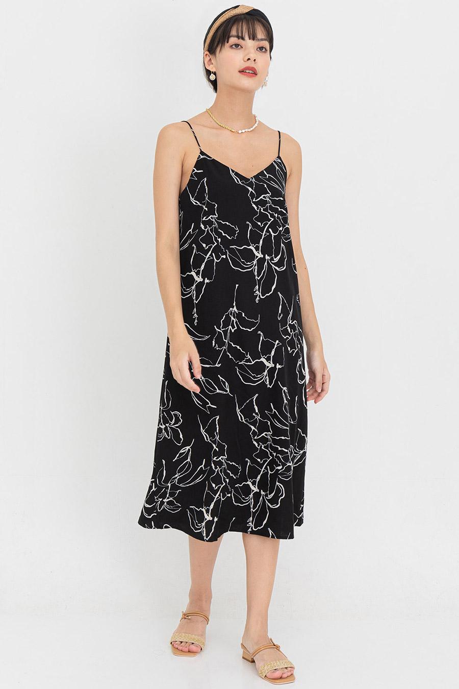 VALERIO DRESS - NOIR FLEUR